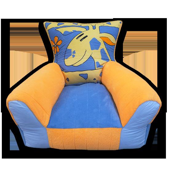 zsiráfos narancssárga kék gyerekfotel